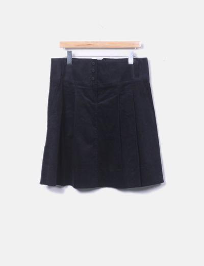 Falda midi negra de pana