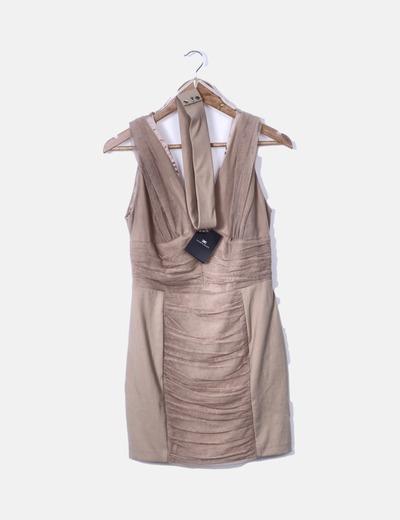 Vestido drapeado tul nude