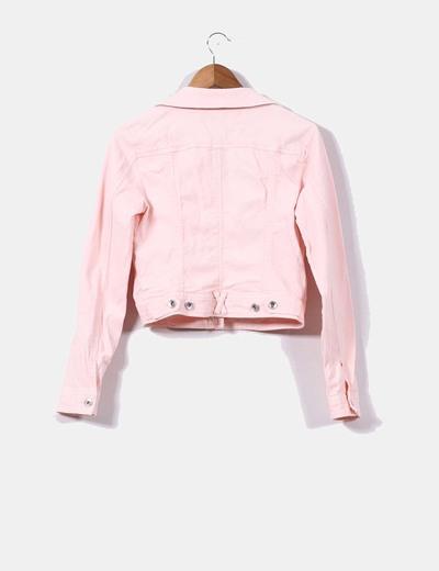 Tienda bonita y colorida 100% de satisfacción Chaqueta vaquera rosa palo con strass