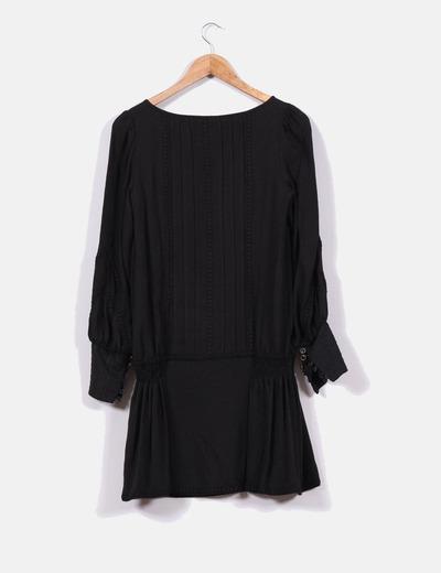 401889b572 Mango Vestido negro de manga larga con encaje (descuento 70%) - Micolet