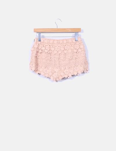 Shorts crochet nude