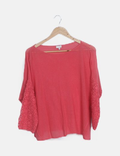 Camiseta tricot oversize coral