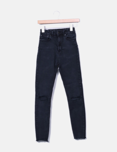 Jeans denim high waist negro Zara