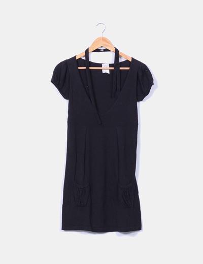 Vestido negro de punto fino XDYE