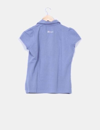 Polo azul texturizado manga corta