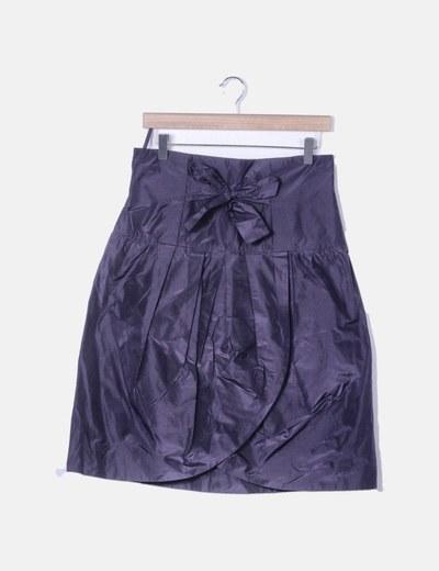 Falda midi morada detalle lazo