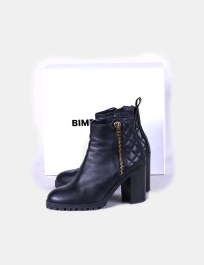 Botín negro texturizado de piel Bimba&Lola