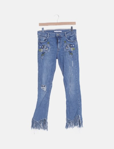 Jeans denim floral desflecado