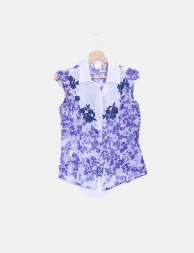 Blusa organdí  floral azul seda