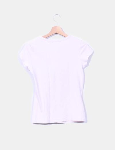 Camiseta rosa palo print mariposa con strass
