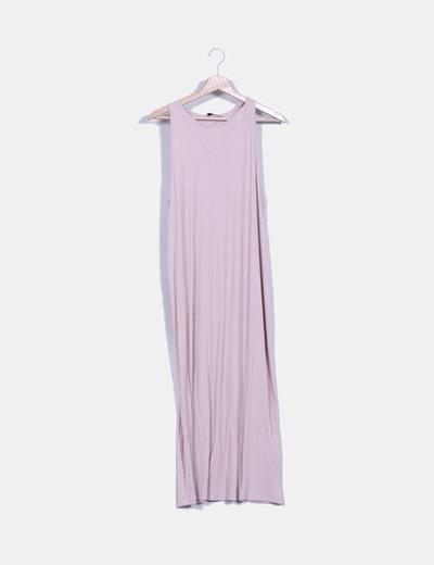 Maxi vestido rosa palo  de canalé Pull&Bear