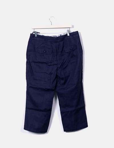 Pantalon lino azul marino