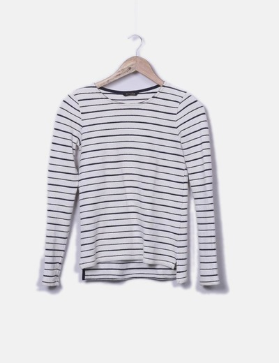 Pull beige en maille rayé Massimo Dutti
