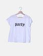 "Camiseta blanca ""Party"" Mango"