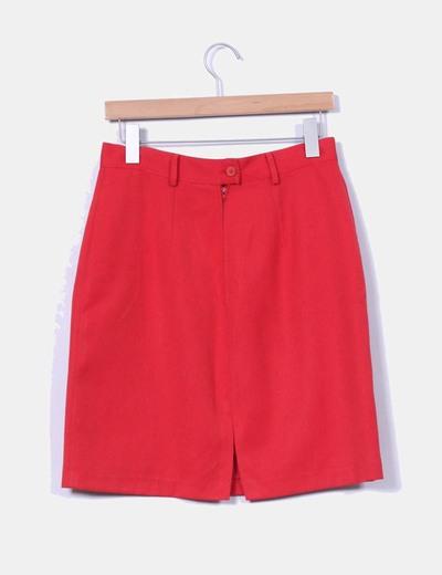 Falda midi roja