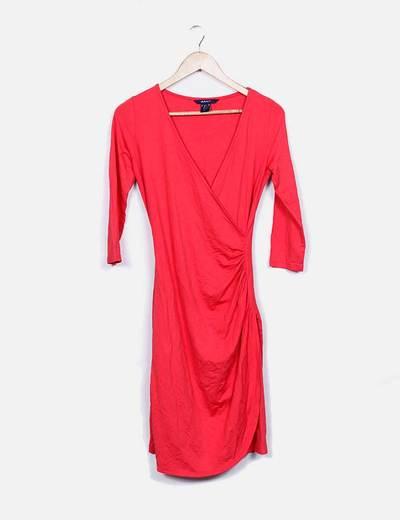 Vestido rojo escote cruzado GANT