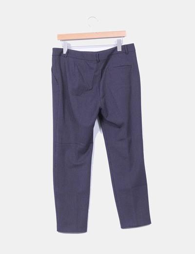 Pantalon recto azul marino con topos blancos