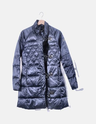 Chaqueta acolchada azul marina con capucha