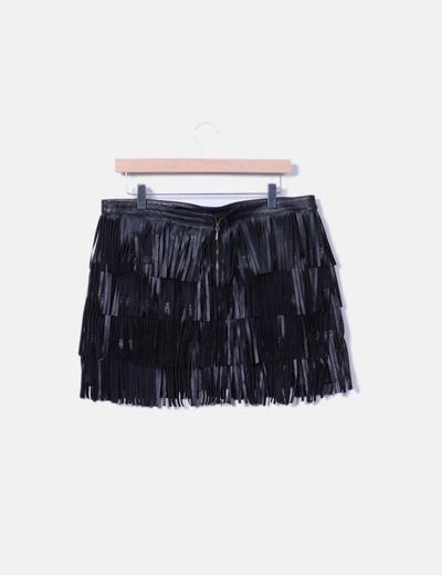 Mini falda flecos negros