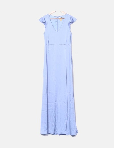 Maxi vestido satinado celeste
