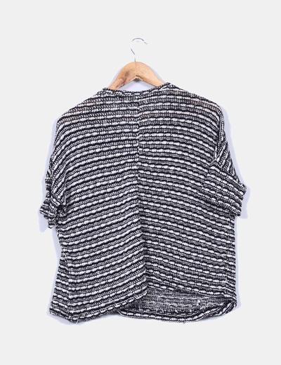 Jersey de punto blanco y negro con pinchos