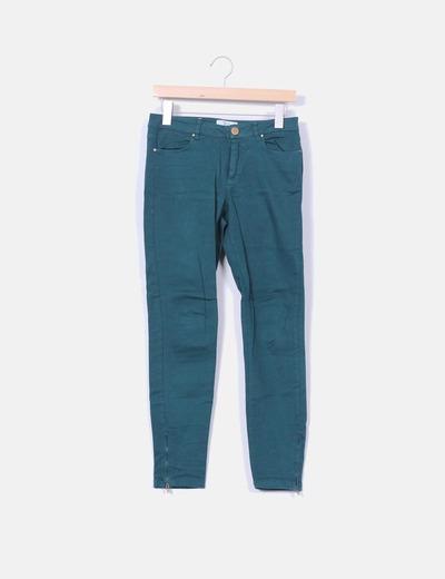 Pantalón denim verde botella Zara