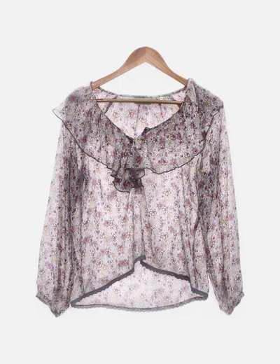 Blusa gris floral