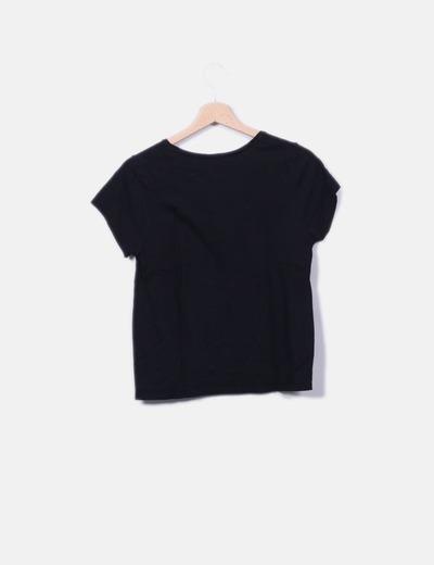 Camiseta negra print lobo
