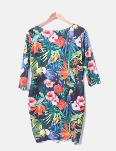 Vestido midi estampado tropical