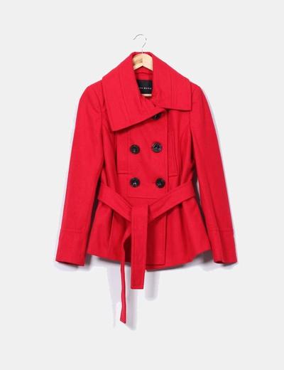 Zara Cappotto in lana rossa con bottoni a doppio risvolto (sconto 70 ... 55b70984bf7