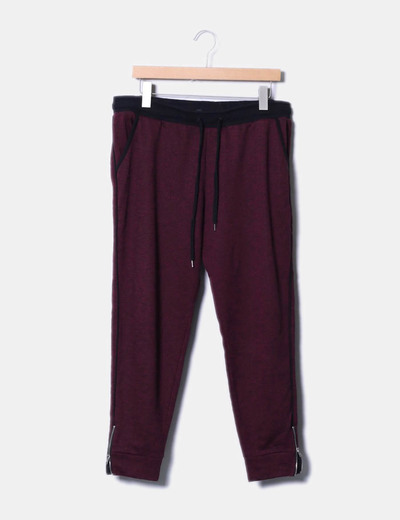 Pantalón baggy burdeos jaspeado H&M