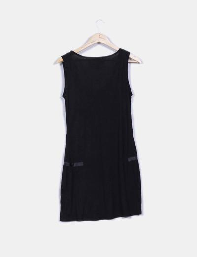 Vestido negro print con strass