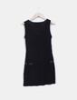 Vestido negro print con strass Ichi