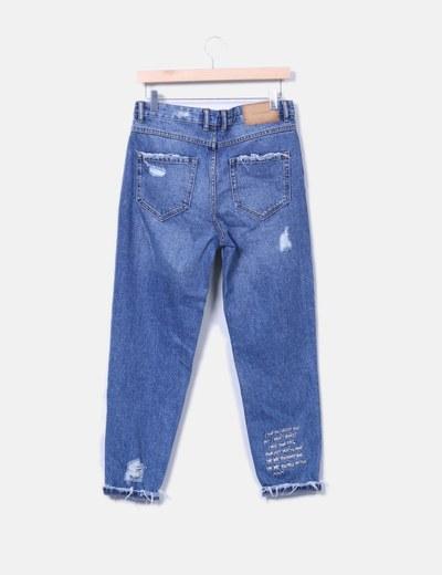 Jeans denim mon fit con letras