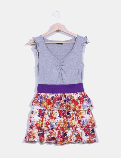 Vestido combinado con falda floral  Suiteblanco