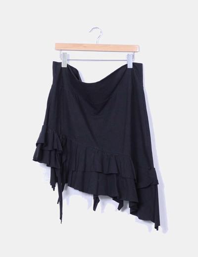Falda negra asimétrica con volantes Fashion Knk