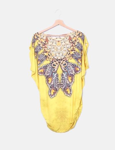 Camiseta amarilla print con strass BEATRIZ LUCINI