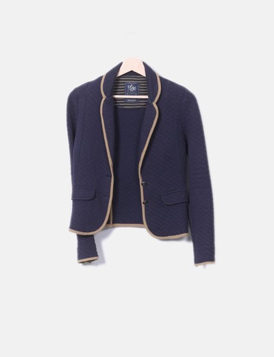 Navy blue blazer with elbow patches Pull&Bear