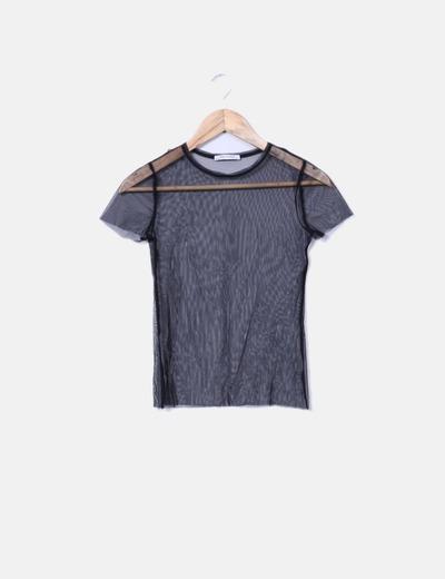descuento Tul 74 Negra Micolet Zara Transparente Camiseta 1IExqR