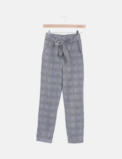 Pantalón jogging gris de cuadros