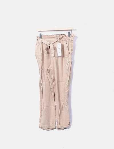 Pantalón beige paperbag