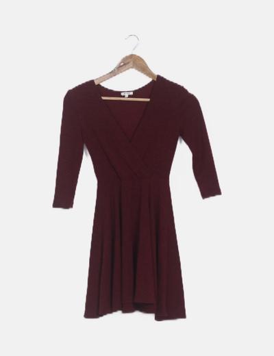 Vestido tricot burdeos evasé