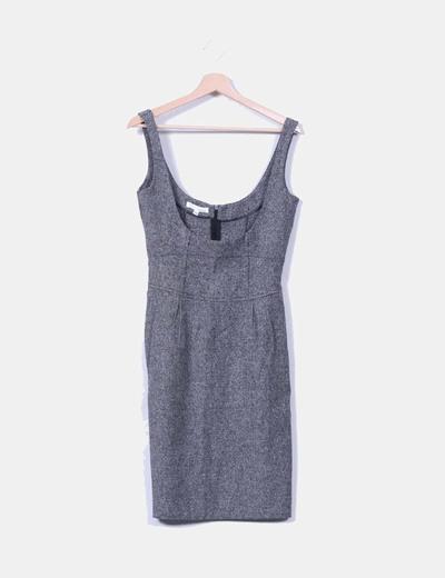 Vestido mini gris jaspeado Suiteblanco