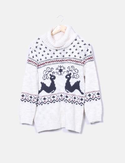 Jersey tricot con cuello cisne