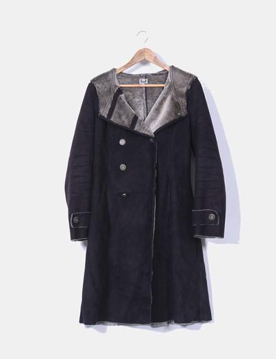 Adolfo dominguez abrigo largo negro con pelo interior for Abrigos adolfo dominguez outlet