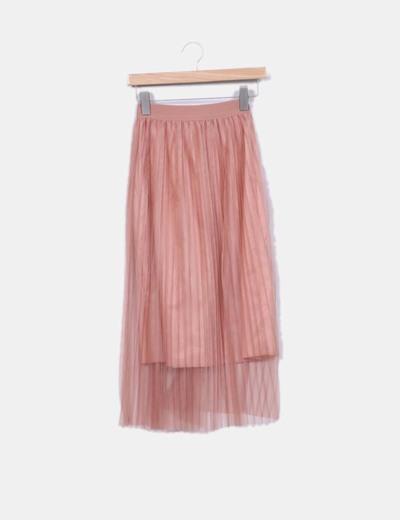 9a4e85486 Falda midi tul plisada rosa