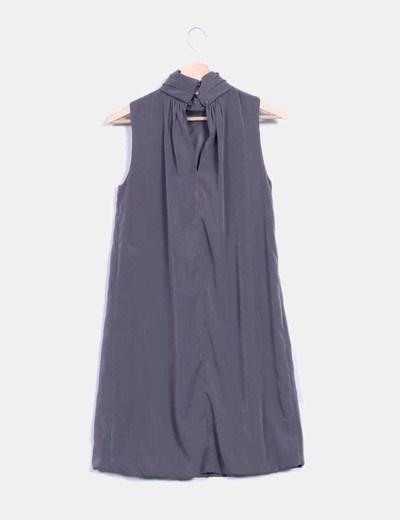 Vestido gris taupe tacto seda