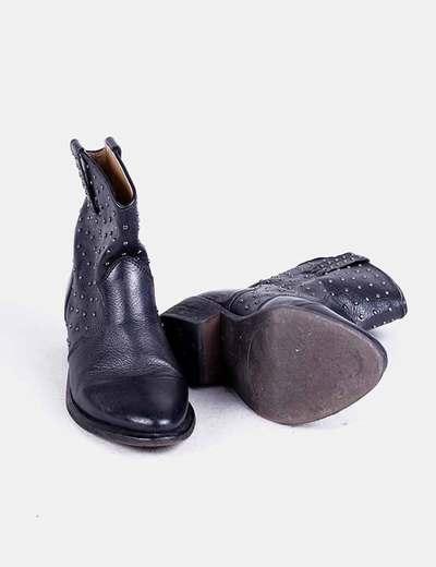 lo último aef11 76096 Botines cowboy negros con tachas
