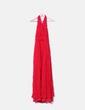 Vestido rojo de gasa fruncida Mango