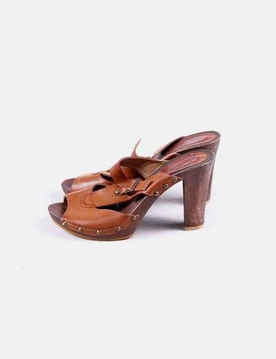 036dc80377f Wanna Sandalias cuero marrón tacón madera (descuento 93%) - Micolet